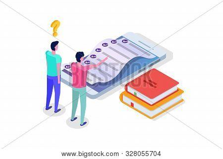 Online Testing, E-learning, Education Isometric Concept. Vector Illustration.