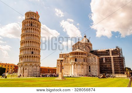 Pisa, Italy - September 03, 2019: The Pisa Cathedral Complex Or Cattedrale Di Pisa And The Famous Le