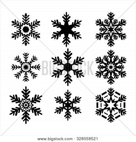 Set Of Isolated Snowflake Icon Vectors, Black Snowflake Design And White Background.