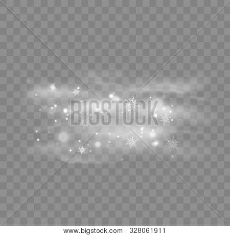 Snow Isolated On Transparent Background. Snowfall Winter Christmas Background. Vector Illustration.