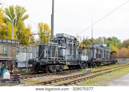 High-voltage Transformers At Power Substations With Various Equipment