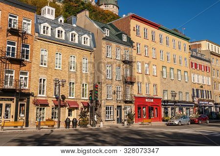 Quebec City, Canada - 4 October 2019: Traditional Stone Houses On Boulevard Champlain In The Petit C