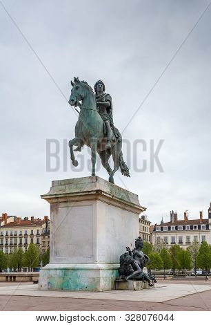 Equestrian Statue Of Louis Xiv On The Place Bellecour, Lyon, France