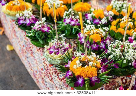 Krathong Of Floating Basket By Banana Leaf Thai Style For Loy Krathong Festival Or Thai New Year And