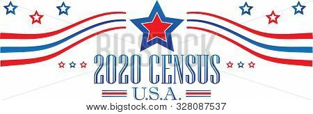 2020 Census United States Of America Banner Art With Stars And Stripes
