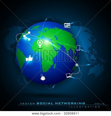 Globe with pointers, signals and social networking icons, Social media network connection and communication with networking signals, icons and map pointers on blue abstract background.