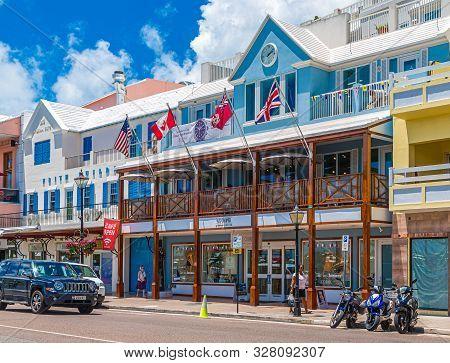 Hamilton, Bermuda - July 12, 2017: Hamilton, In Bermuda Has A Blend Of British And American Culture.