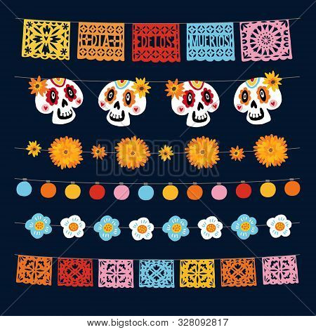 Set Of Dia De Los Muertos, Mexican Day Of The Dead Garlands With Lights, Bunting Flags, Papel Picado