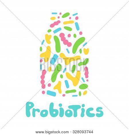 Probiotics Bacteria Logo. Prebiotic, Lactobacillus Vector In Kefir. Dairy Contains Lactobacillus Pro