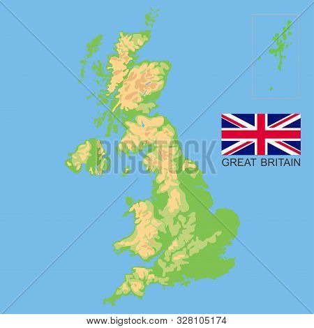 Map Of Uk Rivers And Mountains.United Kingdom Vector Photo Free Trial Bigstock