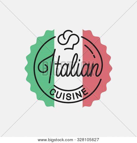 Italian Cuisine Logo. Round Linear Of Italian Flag