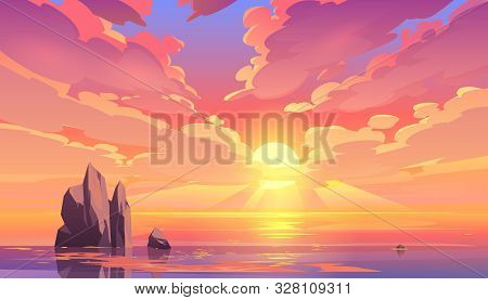 Sunset Or Sunrise In Ocean, Nature Landscape Background, Pink Clouds Flying In Sky To Shining Sun Ab