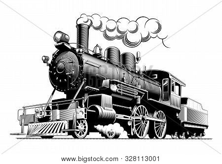 Vintage Steam Train Locomotive, Engraving Style Vector Illustration. On Brown Background. Logo Desig