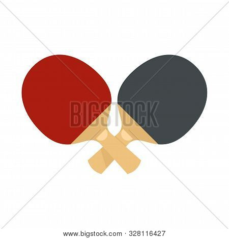 Crossed Ping Pong Paddle Icon. Flat Illustration Of Crossed Ping Pong Paddle Vector Icon For Web Des