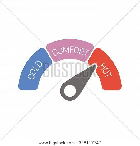 Radial Gauge Thermometer Scale With Labels Cold, Comfort And Hot. Temperature Indicator. Vector Illu