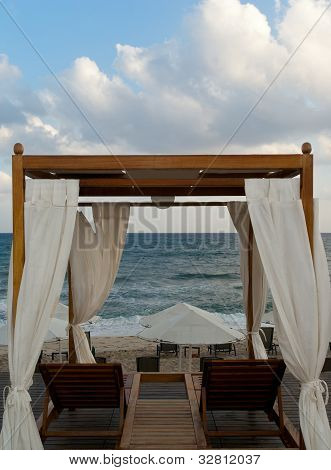 Pavilion For Relax On Mediterranean Beach