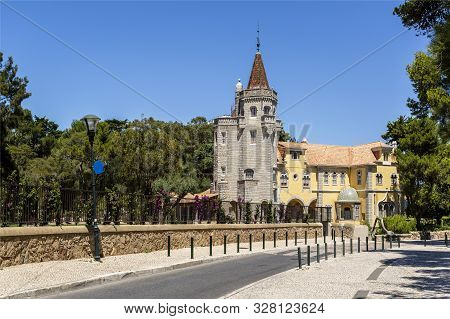 Cascais - August 14, 2019: The Tower Of Sao Sebastiao Is One Of The Most Imposing Villas In The Summ