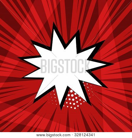 White Empty Comic Speech Bubble With Halftone Dot Shadow On Red Background In Pop Art Style. Vector