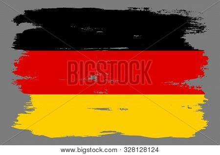 German Flag With Horizontal Stripes. German Flag With Cool Grunge Texture. Vector Flag Of Germany In