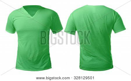 Green V-neck T-shirt Mock Up, Front And Back View, Isolated. Male Model Wear Plain Green Shirt Mocku