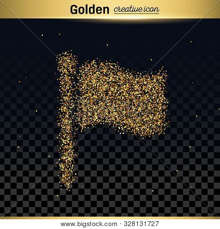 Gold Glitter Vector Icon Of Flag Isolated On Background. Art Creative Concept Illustration For Web,