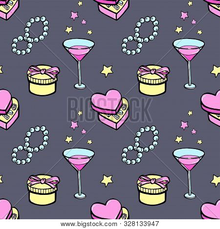 Retro Pinup Seamless Wallpaper. Love Pattern With Stars, Gifts, Pearl And Martini.