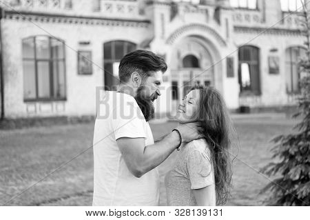 Victim of domestic abuse by violent and brutal husband. Brutal man getting his hands around womans throat. Bearded hipster using brutal physical force against girl. Brutal attack against woman by man. poster