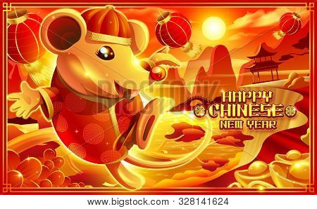 A Cartoon Illustration Of The Rat In Chinese Dress Jumping Happily Near The Cliff With Chinese Scene