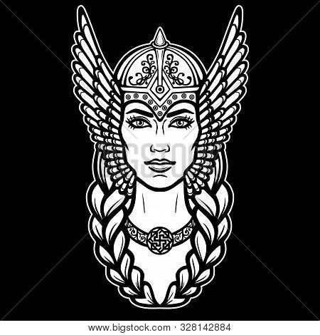 Animation Portrait Of The Beautiful Young Woman Valkyrie. Pagan Goddess, Mythical Character. White V