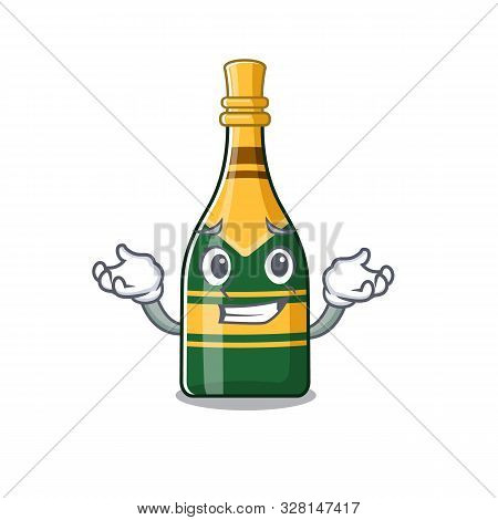 Grinning Champagne Bottle Poured In Cartoon Glasses