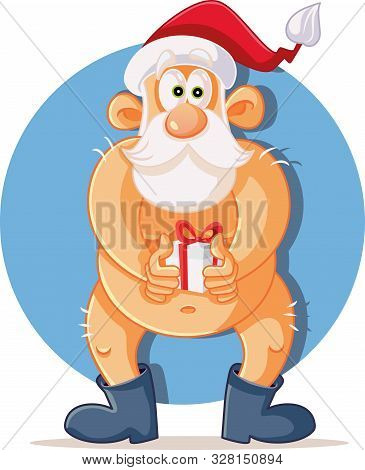 Funny Naked Santa Claus Holding Christmas Present