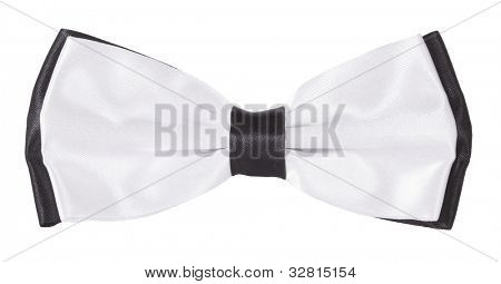 White and black bow tie
