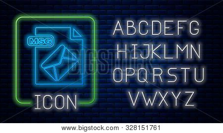 Glowing Neon Msg File Document. Download Msg Button Icon Isolated On Brick Wall Background. Msg File