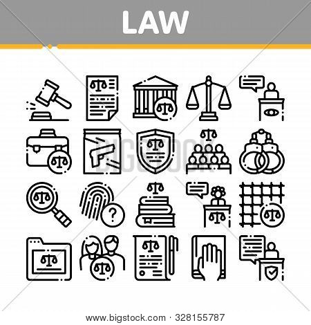 Law And Judgement Collection Icons Set Vector Thin Line. Courthouse And Judge, Gun And Magnifier, Fi