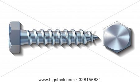 Bolt Screw Metal Pin With Head Slot And Side View