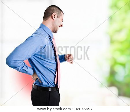 Man suffering for a backache