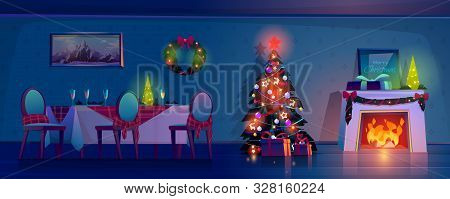 Room At Christmas Night, Empty Home Interior With Burning Fireplace, Decorated Fir Tree With Gifts A