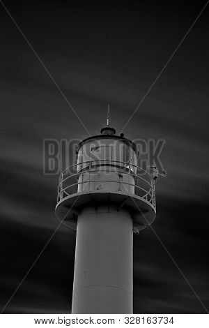 Black And White Long Exposure Form The Lighthouse On The Pier Of Nieuwpoort On The Belgian Coast
