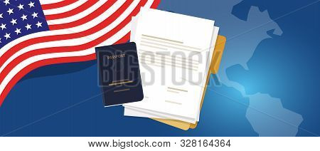 Visa Application Document Or Work Student Permit For Us United States Of America. Passport And Paper