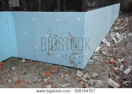 Basement Rigid Insulation Details With Waterproofing, Damp Proofing. House Corner Wall Foundation Ri