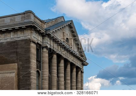 Berlin, Germany - July 27, 2019: Detail Of Pediment Of Pergamon Museum In Museum Island