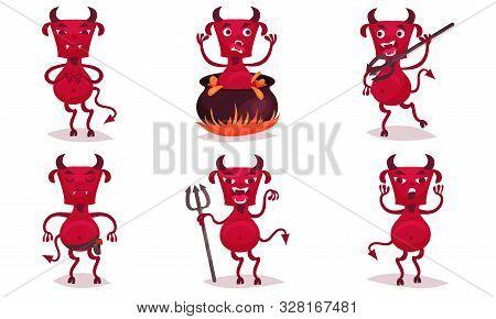 Set Of Red Bearded Devils. Vector Illustration.