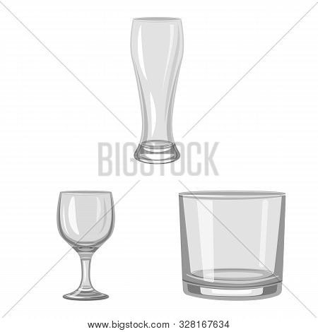 Isolated Object Of Capacity And Glassware Sign. Set Of Capacity And Restaurant Vector Icon For Stock