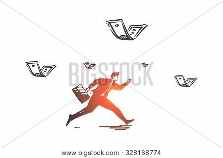 Career And Money Pursuit Concept Sketch. Businessman Running After Flying Banknotes, Race For Succes