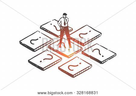 Brainstorming, Choice, Solution Concept Sketch. Businessman Choosing Profitable Business Line, Entre