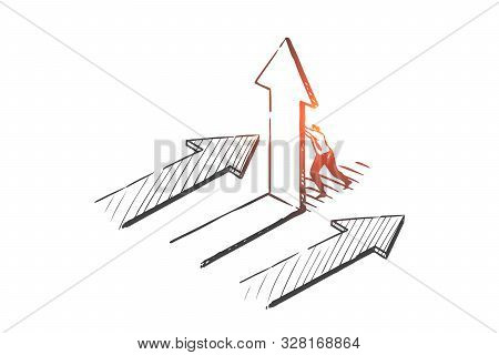 Business Opportunity, Pathway Choosing Concept Sketch. Businessman Character Corporate Challenge, Co
