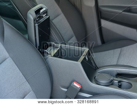 Open Storage Box Between Front Car Seats