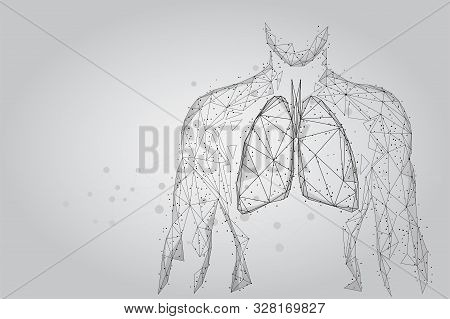 Man Silhouette Healthy Lungs Connected Dots Low Poly Wireframe. Online Doctor World Tuberculosis Day