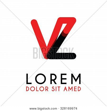 Initial Letter Vz With Red Black And Has Rounded Corners