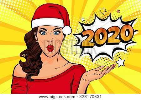 2020 New Year Comic Book Style Postcard Or Greeting Card With Wow Sexy Young Girl. Vector Illustrati